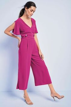 df08202aed1 Magenta Eyelet Detail Jumpsuit Jumpsuit For Wedding Guest