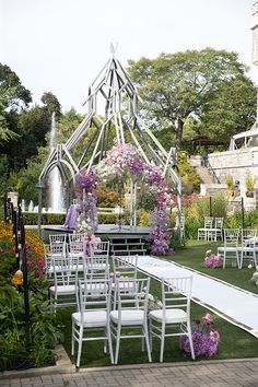 Photo Credit: White by LaMemoir | Planner: Designed Dream Wedding | Floral: Peachwood Studio | Runner: Event Graffiti | Venue: Casa Loma Photo Credit, Floral Wedding, Purple, Pink, Wedding Ceremony, Graffiti, Floral Design, Dream Wedding, Outdoor Structures