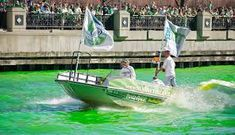 Members of the plumbers' union dye the Chicago River green for St. St. Patricks Day, Chicago River, My Kind Of Town, St Patrick, Illinois, Saints, To Go, Boat, City