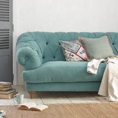Bagsie British made chesterfield sofa in Ocean blue vintage linen
