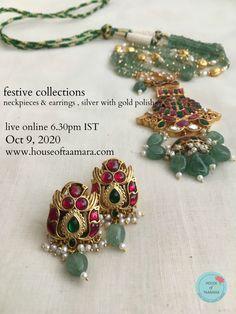 Jewelry Design Earrings, Gold Earrings Designs, Gold Jewellery Design, Bead Jewellery, Temple Jewellery, Beaded Jewelry, Beads Jewellery Designs, Designer Jewellery, Ruby Jewelry