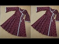 Great Free how to stich kurti sewing tutorials Popular Angrakha kalidar frock style kurti with side slit Baby Girl Dress Design, Girls Frock Design, Kids Frocks Design, Baby Frocks Designs, Baby Girl Dress Patterns, Frocks For Girls, Dresses Kids Girl, Girl Outfits, Girls Dresses Sewing