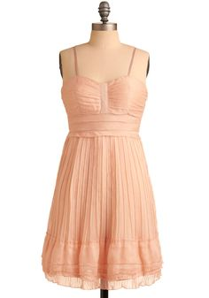 At Last We Pleat Dress - Pink, Solid, Pleats, Ruffles, Party, Casual, A-line, Empire, Spaghetti Straps, Spring, Summer, Mid-length