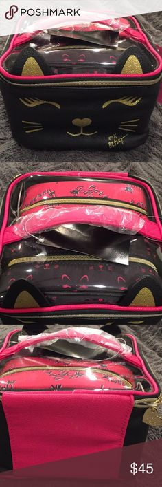 New Betsey Johnson Cat 3 piece Cosmetic Bag set 81a00c3c8a8c7