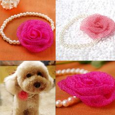 Small Dog / Cat Pearl Necklace with Silk Flower