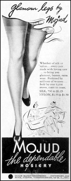 "Advertisement for Mojud Hosiery (Mock, Judson, Voehringer Co.): 23 June 1941, featured on page 79 of ""Life,"" tagline, ""Glamour legs by Mojud."""