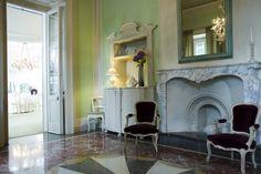 La sala verde di Villa Acquaroli, una location per matrimoni e ricevimenti a Bergamo