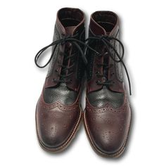 London Brogue Mens Boot Wing Tip Handcrafted Black Brown Leather Lace-up Size 8 #LondonBrogues #Bootie #Casual