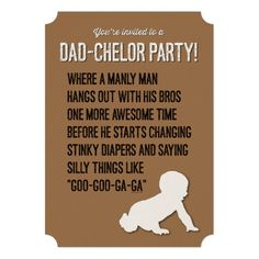Dad-chelor, Dadchelor, Party Invitation, Manly Man