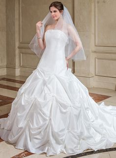 Ball-Gown Strapless Cathedral Train Taffeta Wedding Dress With Ruffle Flower(s) (002000504)