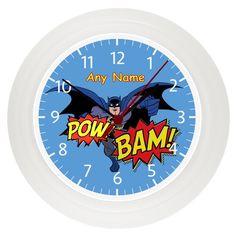 Personalised BATMAN* SUPERHERO wall clock* Childrens Bedroom* Gift* Girls* Boys by LittlePicklePlaques on Etsy