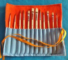 Printed Felt Holder for Painting Brushes, Children's Gift, Children Organisation, School Bag Organisation, Children  Fun, Felt Roll Up.  For more, please visit my Etsy shop at www.etsy.com/shop/FeltedFairyDreams. Thank you! :)