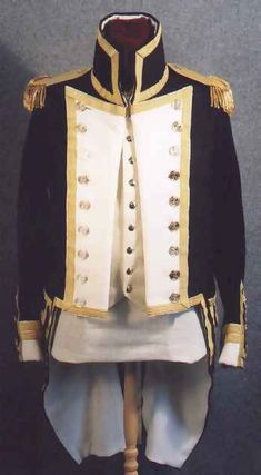 Front and back view of a recreated Royal Navy Post-Captain's Coat based on 1812 regulations. #warof1812