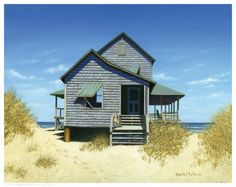 Nautical BC -- Amanti Art Oceanfront Bungalow by Daniel Pollera Framed Fine Art Print - love at first sight! Cottages By The Sea, Cabins And Cottages, Beach Cottages, Beach Houses, Tiny Beach House, Tiny House, Beach Cottage Style, Coastal Cottage, Coastal Homes