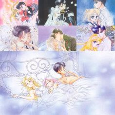 Usagi, Mamoru, Sailor Moon, Tuxedo Mask, Serenity and Endymion