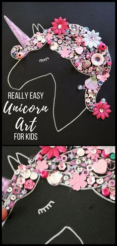 Easy Unicorn Craft for Kids – with free printable template. This guide helps you create really effective unicorn artwork with kids. Includes step-by-step instructions and a video #unicorn #unicornparty #unicornart #crafts #craftsforkids #kidscraft #easycrafts #easy #kidsart #freeprintable #unicornhair