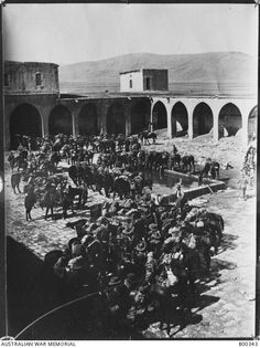 Members of the Australian Light Horse Brigade watering their horses at a water trough in a walled courtyard at Kuteife. Water Trough, Courtyards, Amazing People, Damascus, Syria, Jerusalem, Brooklyn Bridge, Historical Photos, Egypt