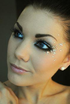 Pretty rhinestones, eyeliner, and eyelashes!!