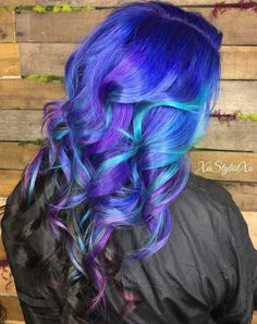 Purple black ombre dyed hair color inspiration