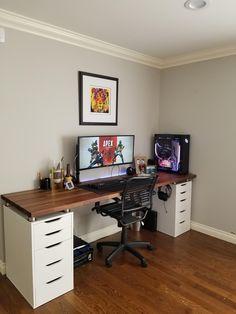 """room design """"I mean I still see some wires. Computer Desk Setup, Gaming Room Setup, Computer Desk Organization, Home Office Setup, Home Office Design, Bedroom Setup, Bedroom Ideas, Desk Inspiration, Game Room Design"""