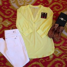 The cutest spring outfit from Monkee's of Louisville - love this citrus Bonnie tunic by Annie Griffin Collection!