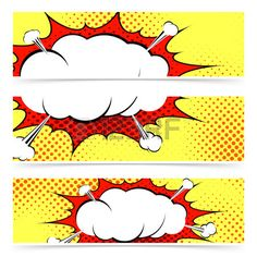 Comic book retro style web header or footer collection with blasting explosion steam cloud Vector il Stock Vector
