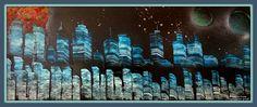 City Skyline blue - 50x20 cm zonder lijst,  Bieden v.a. € 10,=
