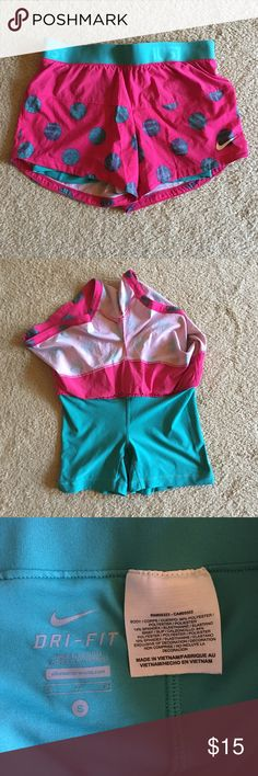 NIKE Double Layer Running Shorts, size S, * EUC * Excellent Used Condition, Nike running shorts with double layer underneath. Super cute and fun.  Bright colors. Size Small. Nike Shorts