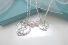 Mother Daughter heart Infinity necklace set, Heart Infinity necklaces, Silver Infinity, Pink Pearl Necklace