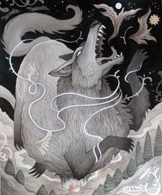 """FENRIR [noun] in Norse mythology, Fenrir (Old Norse: """"fen-dweller""""), Fenrisúlfr (Old Norse: """"Fenris wolf""""), Hróðvitnir (Old Norse: """"fame-wolf""""), or Vánagandr (Old Norse: """"the monster of the river Ván"""") is a monstrous wolf. Fenrir is attested in the Poetic Edda, compiled in the 13th century from earlier traditional sources, and the Prose Edda and Heimskringla, written in the 13th century by Snorri Sturluson. In both the Poetic Edda and Prose Edda, Fenrir is the father of the wolves Sköll and…"""