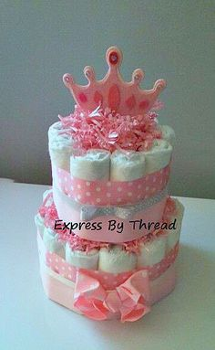 Two tier princess diaper cake pink/gray diaper by ExpressByThread