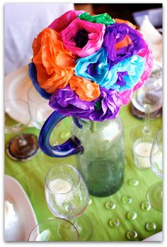 Fiesta Decor Centerpiece Paper Flowers, Blue Glass Pitcher