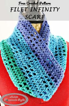 The Filet Infinity Scarf features the Filet Square Stitch you can learn easily via the free crochet pattern or the full video tutorial. Check it out now