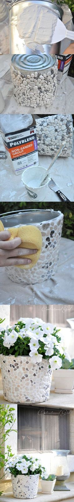 Pebble Flower Bucket DIY