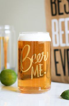 Gold lettering makes the intentions clear on this can-shaped beer glass that's begging to be filled. Definitely picking up a set of these from the #NSale.