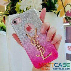 iPhone8ケース キラキラ サンローラン アイフォン7 7sケース ピンク YSL iPhone7PLUSカバー おしゃれ