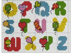 ABC balloon pattern Cross Stitch Letters, Cross Stitch For Kids, Cross Stitch Boards, Cross Stitch Art, Cross Stitching, Cross Stitch Embroidery, Plastic Canvas Letters, Marianne Design, Canvas Patterns
