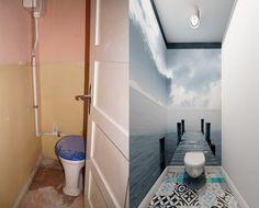 petite salle de toilette rénovée avec un poster mural en 3D et carreaux à motifs carreaux de ciment