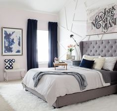 Bedroom Modern Glam Bedroom with Gray Tufted Headboard - Love the blending of modern and glam with a little downtown edge!Modern Glam Bedroom with Gray Tufted Headboard - Love the blending of modern and glam with a little downtown edge! Glam Master Bedroom, Home Bedroom, Girls Bedroom, Bedroom Ideas, Bedroom Modern, Bedroom Furniture, Bedroom Designs, Bedroom Inspiration, Master Bedrooms