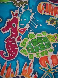 Beautiful Batik 2 - Tredworth Infant School 2013. Designed, drawn and painted by a group of Y1 children at Tredworth Infant School as part of a Gloucestershire Art for Schools project led by one of our members Jo Casling. Don't forget that groups can hire our Batik kit for only £8 a week! Gloucestershire Resource Centre http://www.grcltd.org/scrapstore/