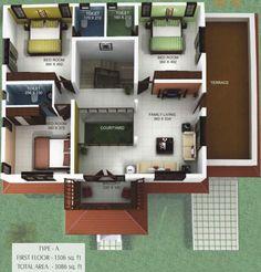 Courtyard House Plans, Courtyard Ideas, Duplex House Plans, Dream House Plans, Modern House Plans, Modern Houses, House Floor Plans, My Dream Home, House Architecture Styles