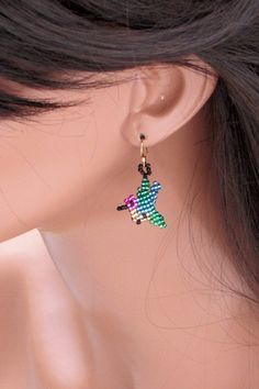 Hummingbird Earrings - Seed Bead Earrings - Bead Woven Earrings