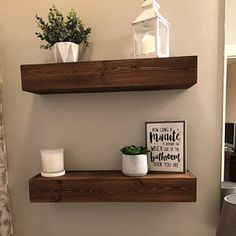 Rhoda added a photo of their purchase Wooden Floating Shelves, Floating Shelves Bathroom, Rustic Shelves, Wood Shelves, Walnut Shelves, Interior Design Living Room, Living Room Designs, Living Room Decor, Dining Room
