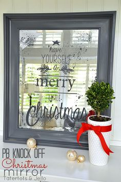 Pottery Barn Christmas Mirror Knock-Off Project! -- Tatertots and Jello : Pottery Barn Christmas Mirror Knock-Off Project! -- Tatertots and Jello Merry Little Christmas, Noel Christmas, Christmas Projects, Winter Christmas, All Things Christmas, Holiday Crafts, Holiday Fun, Holiday Decor, Pallet Christmas