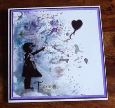 brushos with inkylicious balloon girl stamp