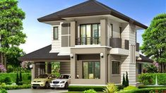 Picture of a Two Storey House Two Story House Design, 2 Storey House Design, Village House Design, Two Storey House, House Front Design, Modern House Design, Bungalow Haus Design, Modern Bungalow House, House Paint Exterior