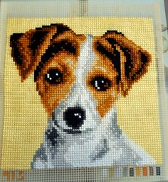 "Cross Stitch Dog Portrait 15,75"" x 15,75"" Ready To Ship / gift / Jack Russell / em"