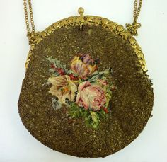 Antique French Gold Threaded Petit Point c1900's Made in France Purse