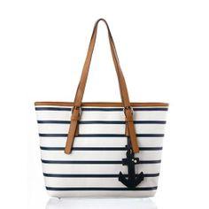 Latest Navy Style Strip Print Anchor Handbag Módní Kabelky 2caec3fdee7