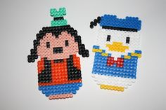 Goofy and Donald Duck hama perler by Gute-Laune Shop Perler Bead Designs, Hama Beads, Perler Bead Disney, Pixel Beads, Kawaii Crafts, Daisy Duck, Mickey Mouse And Friends, Animation, Perler Patterns